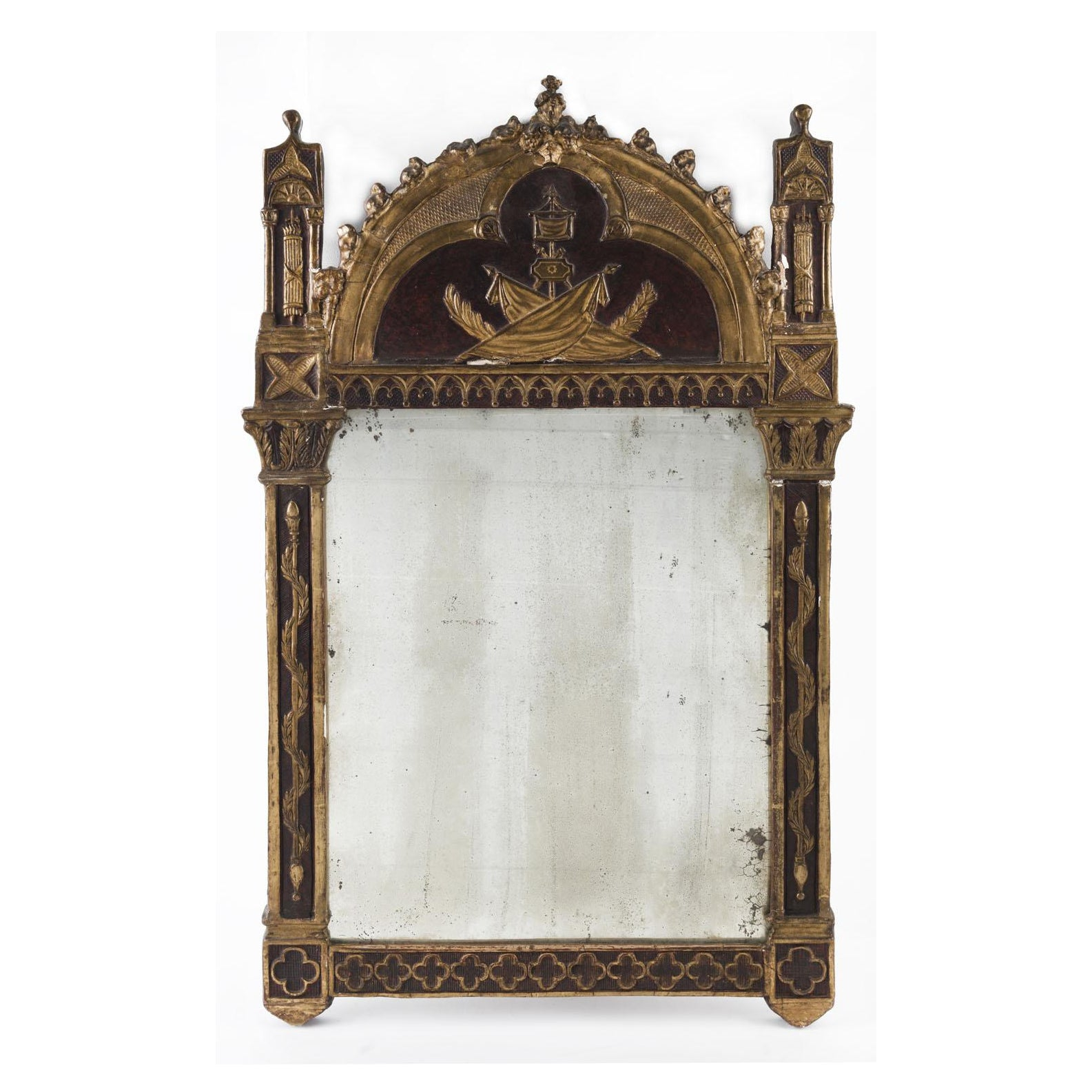 A Georgian Gilt and Painted Mirror
