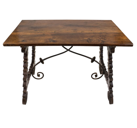 A Spanish 18th Century Churrigueresque Walnut Trestle Table