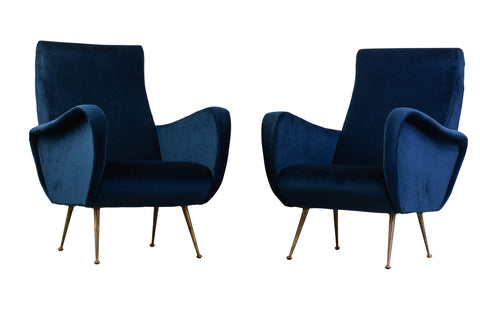 Pair of Mid Century Velvet Armchairs with Brass Glides