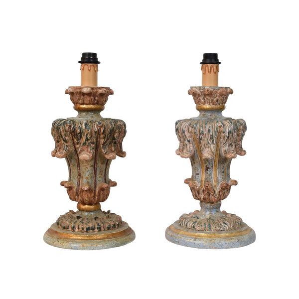 Pair of Italian Carved Polychrome Painted Lamps