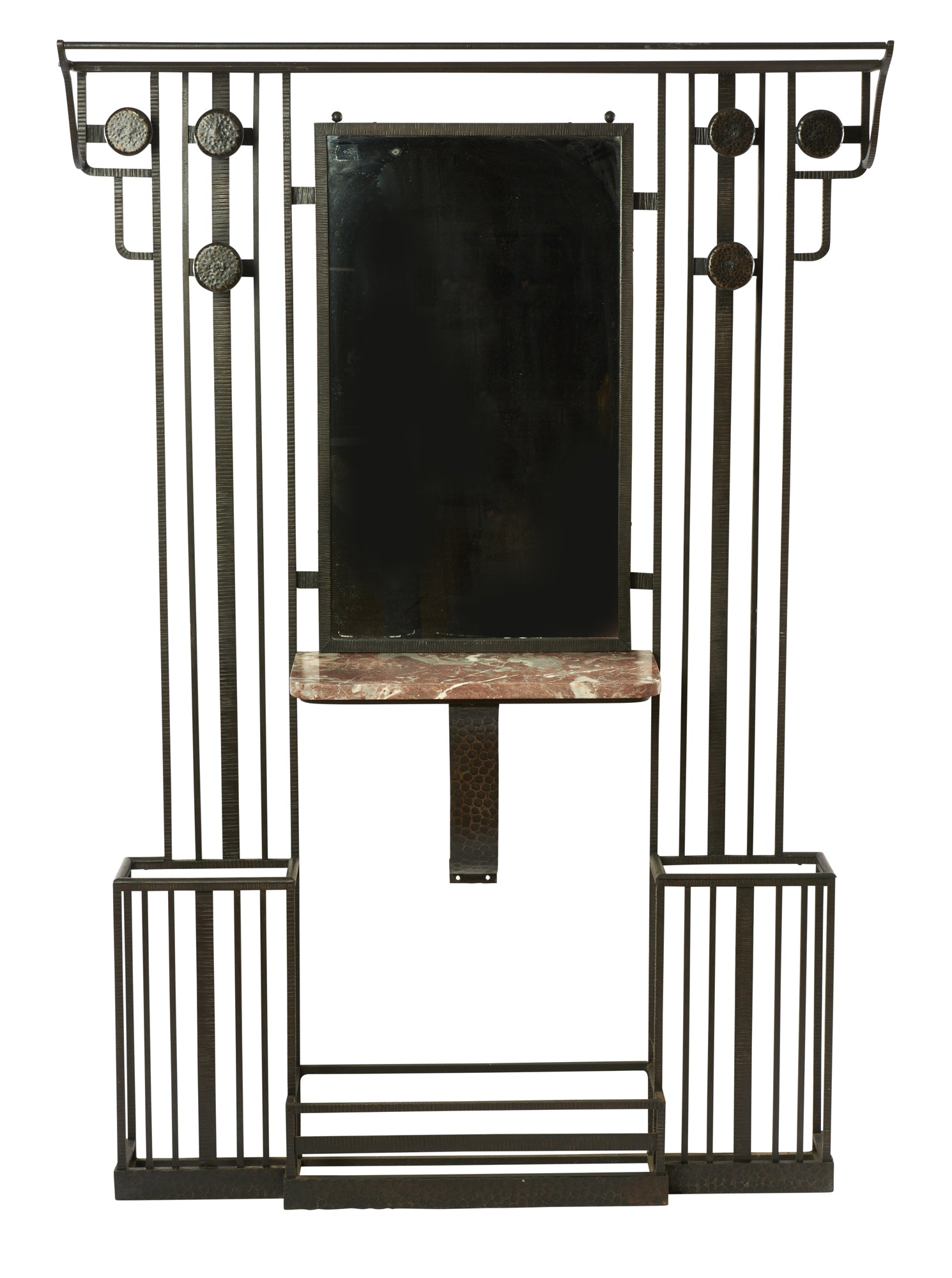 French Art Deco Wrought Iron and Marble Hall Stand
