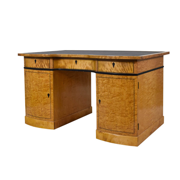 Art Deco Birch Pedestal Desk