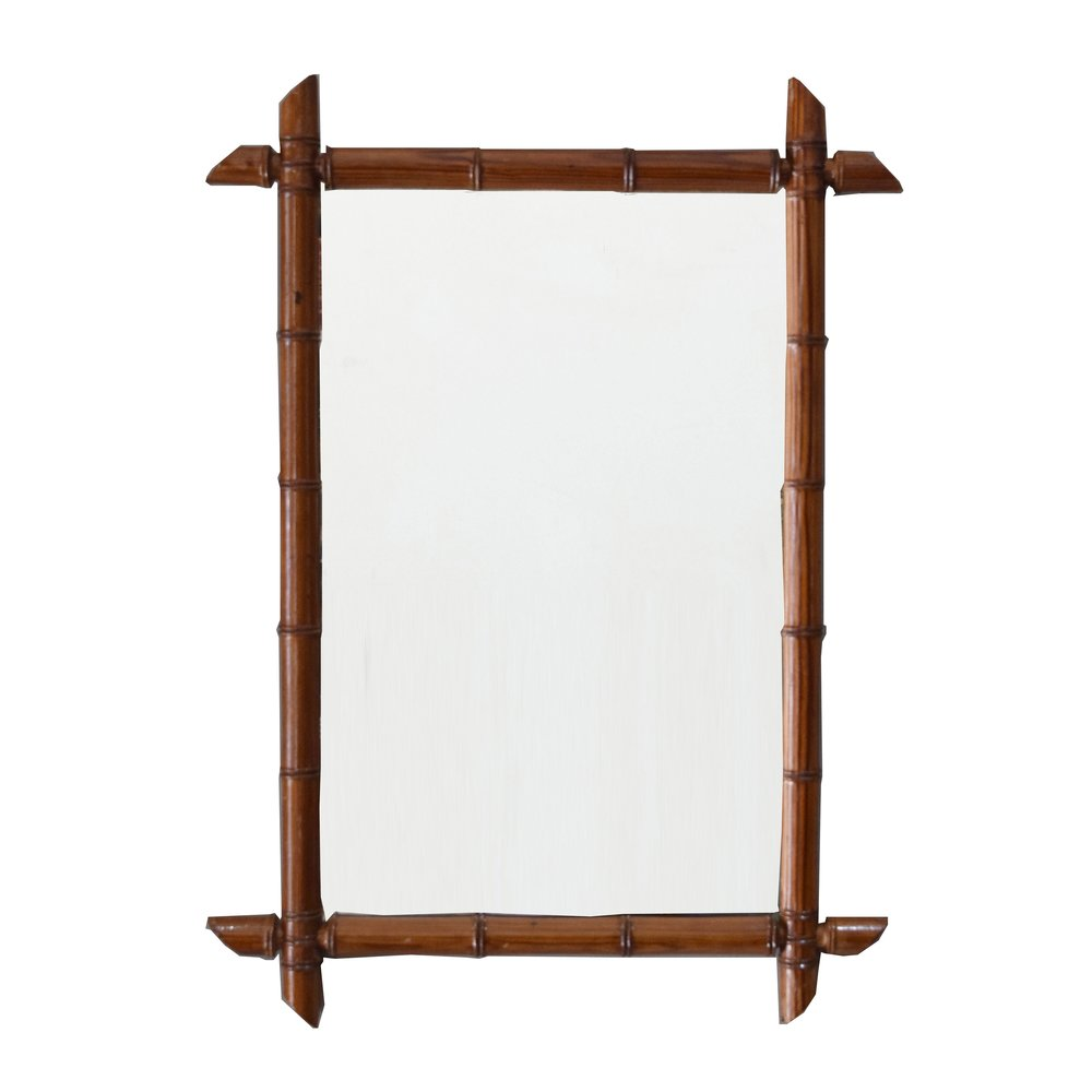 French Antique Faux Bamboo Mirror