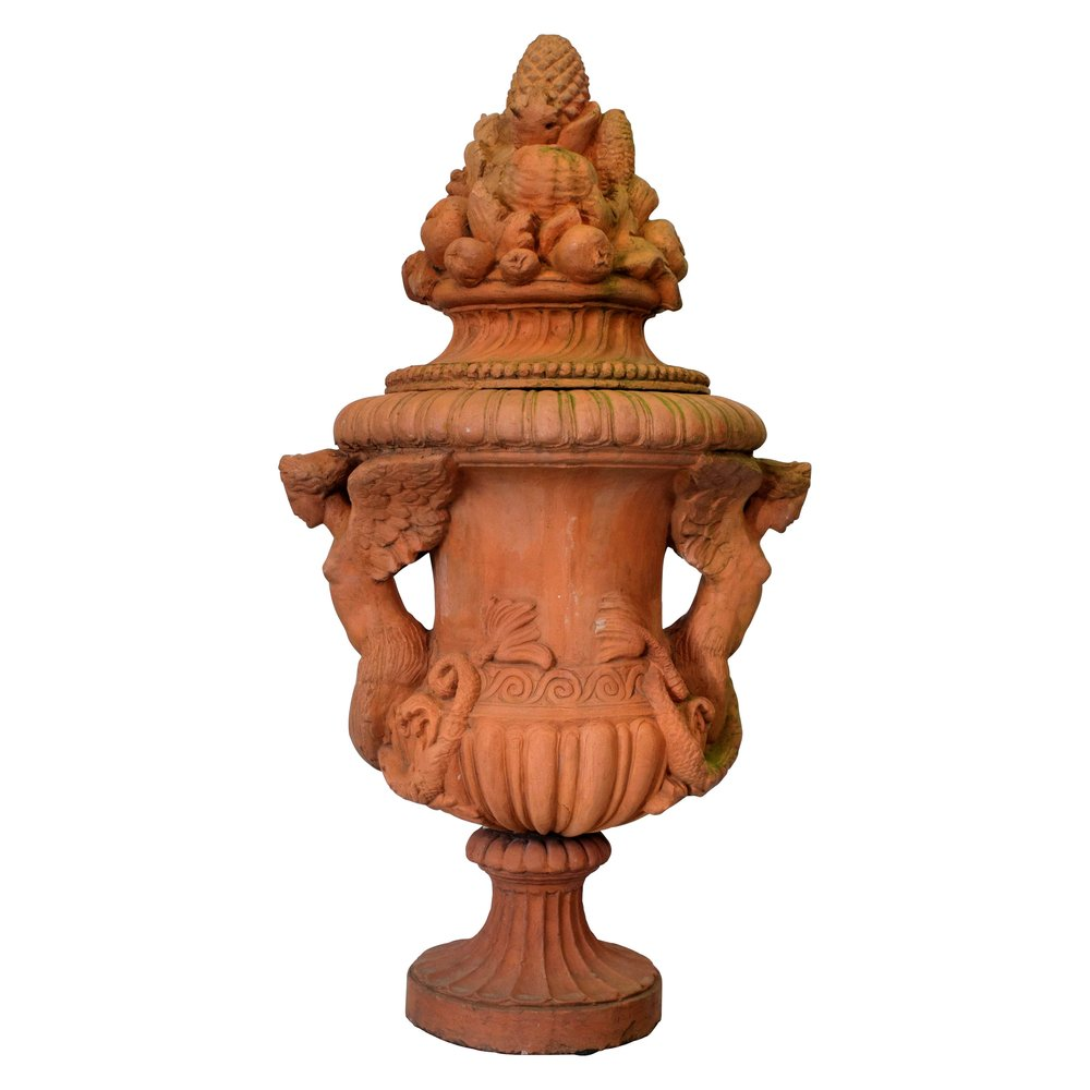 A Large Lidded Red Terracotta Urn