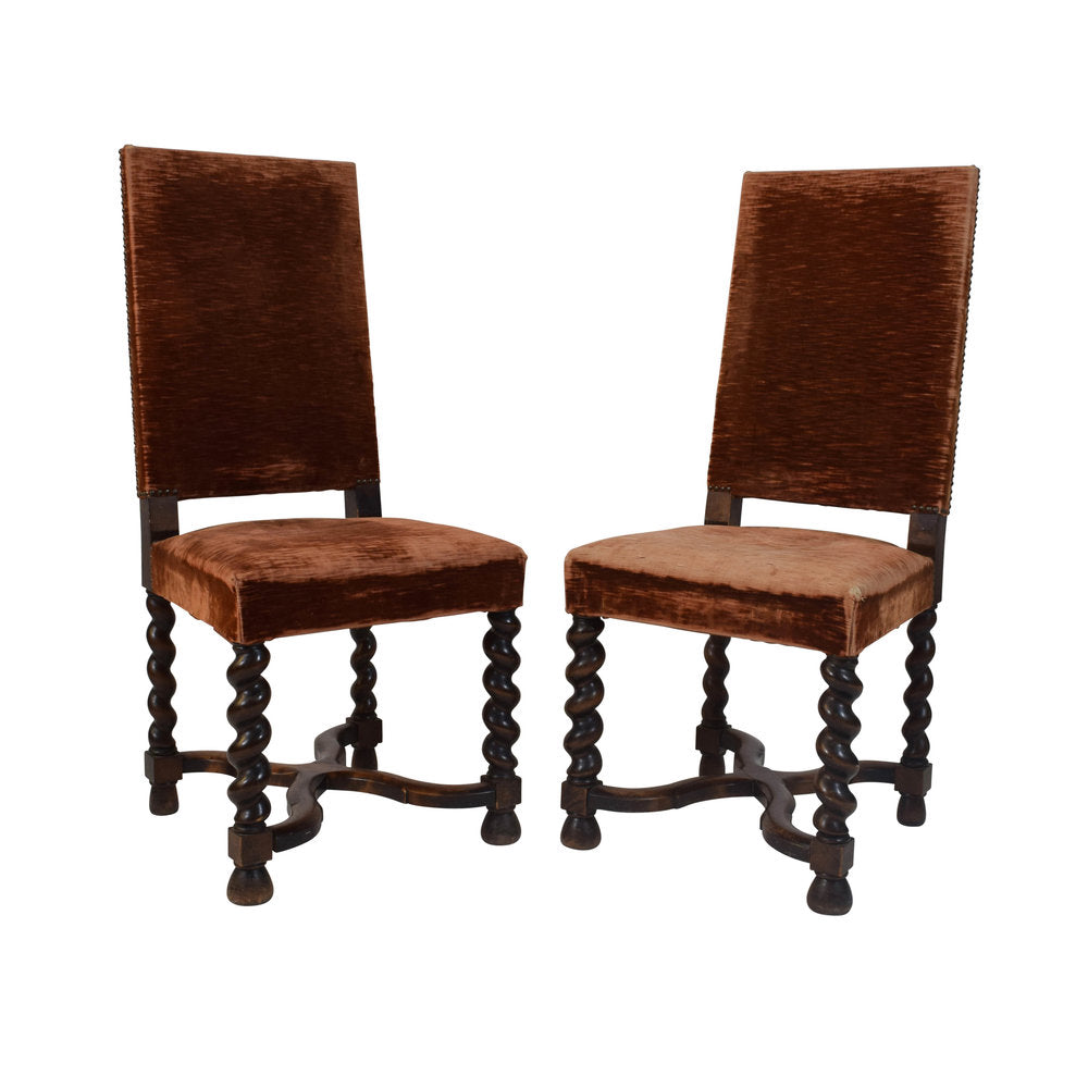 Pair Henri II Style Oak Chairs