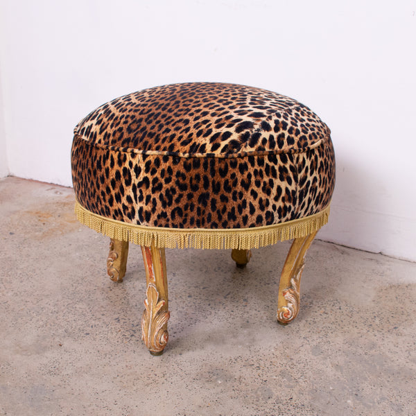 Lovely 19th Century French Carved Giltwood Footstool