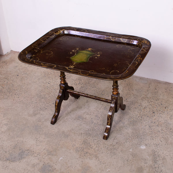 19th Century Regency Style Red Lacquer Tilt Top Tray Table