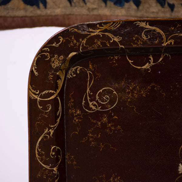 19th Century Regency Style Red Lacquer Tilt Top Tray Table details