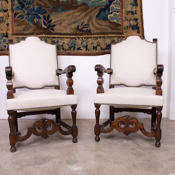 Pair 19th Century Baroque French Walnut Armchairs