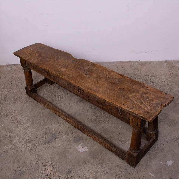 17th Century Jointed Elm Bench Seat