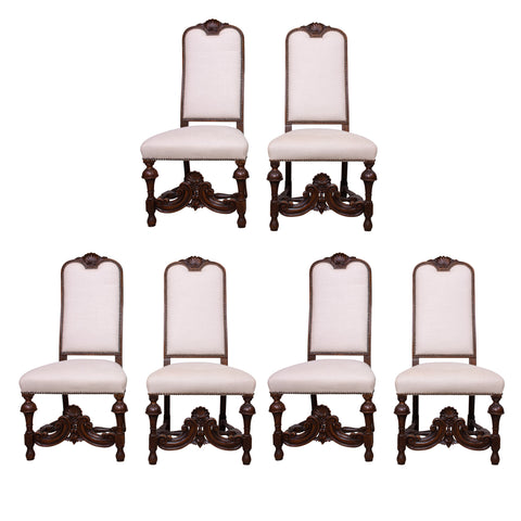 Set of Six High Back Antique French Dining Chairs