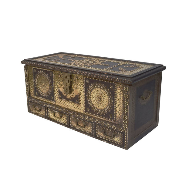 Early 20th Century Brass Studded and Hardwood 'Zanzibar Chest'