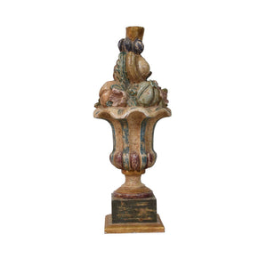 Italian Carved and Painted Fruit Basket Lamp