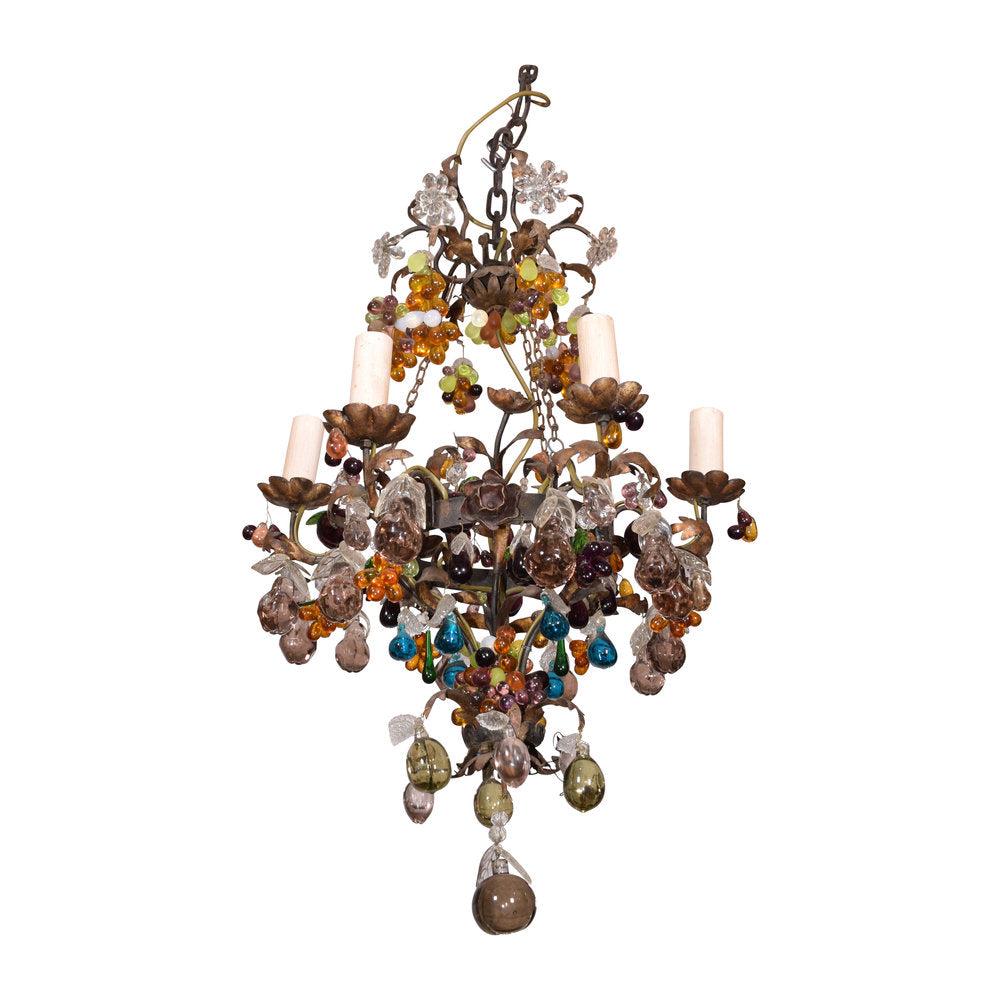 19th century six light bronze and crystal fruit chandelier the 19th century six light bronze and crystal fruit chandelier mozeypictures Images