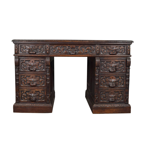 Antique Victorian Carved Oak Pedestal Desk