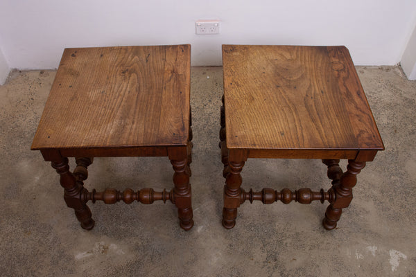 Pair of French Oak Louis XIII style Side tables/Stools