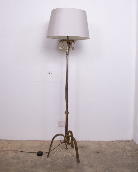 Wrought Iron and Silver Gilt Standard Lamp