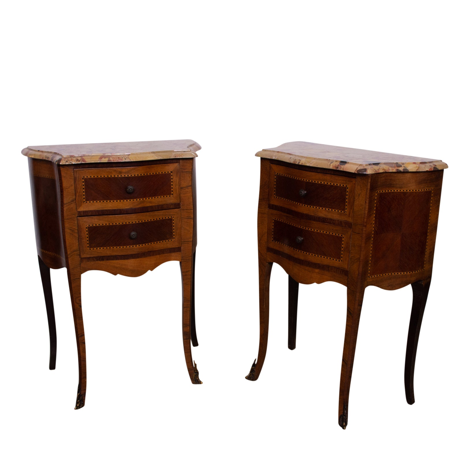 Pair of Louis XV style Walnut  Bedside Tables