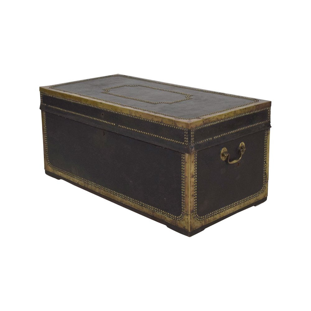 Antique Chinese Export Leather Trunk