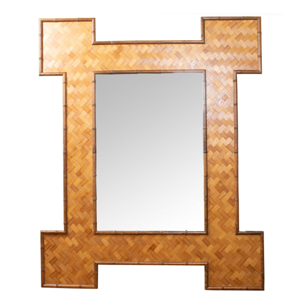 A Large Faux Bamboo and Rattan Mirror
