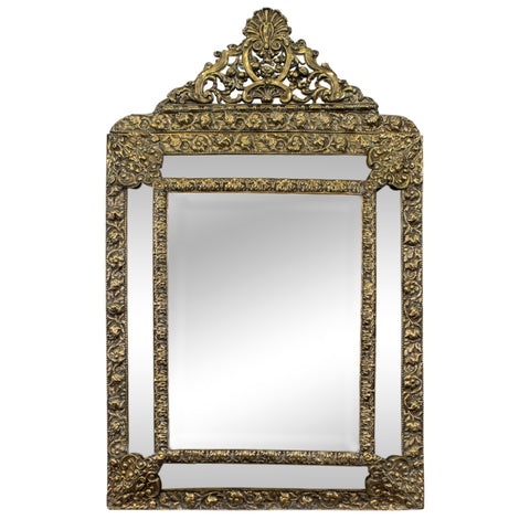 19th Century French Brass Repousse Cushion Mirror