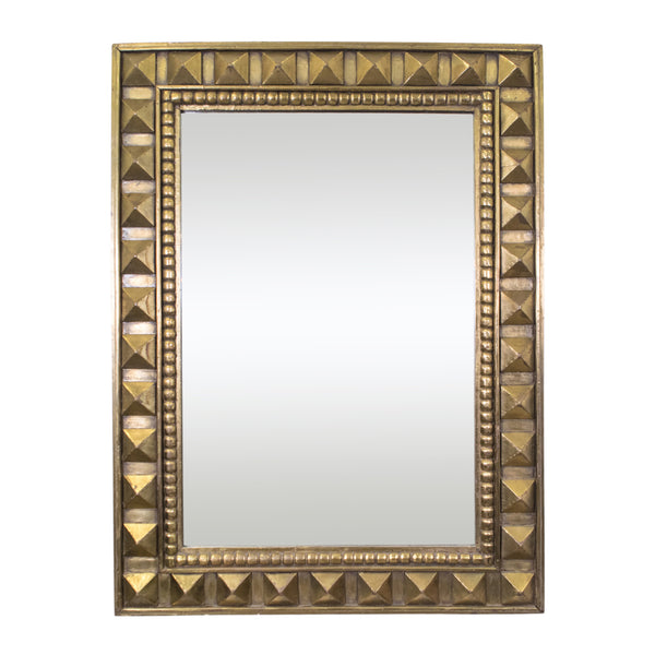 A Large Unusual Mid-Century Brass Studded Mirror