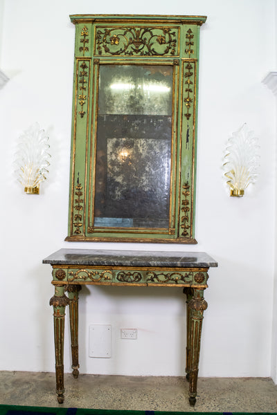 Italian Louis XIV Period Mirror And Marble Console