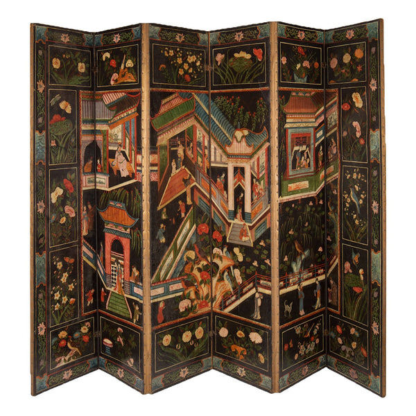 A Fine Six Panel Chinoiserie Polychrome painted and embossed leather Screen