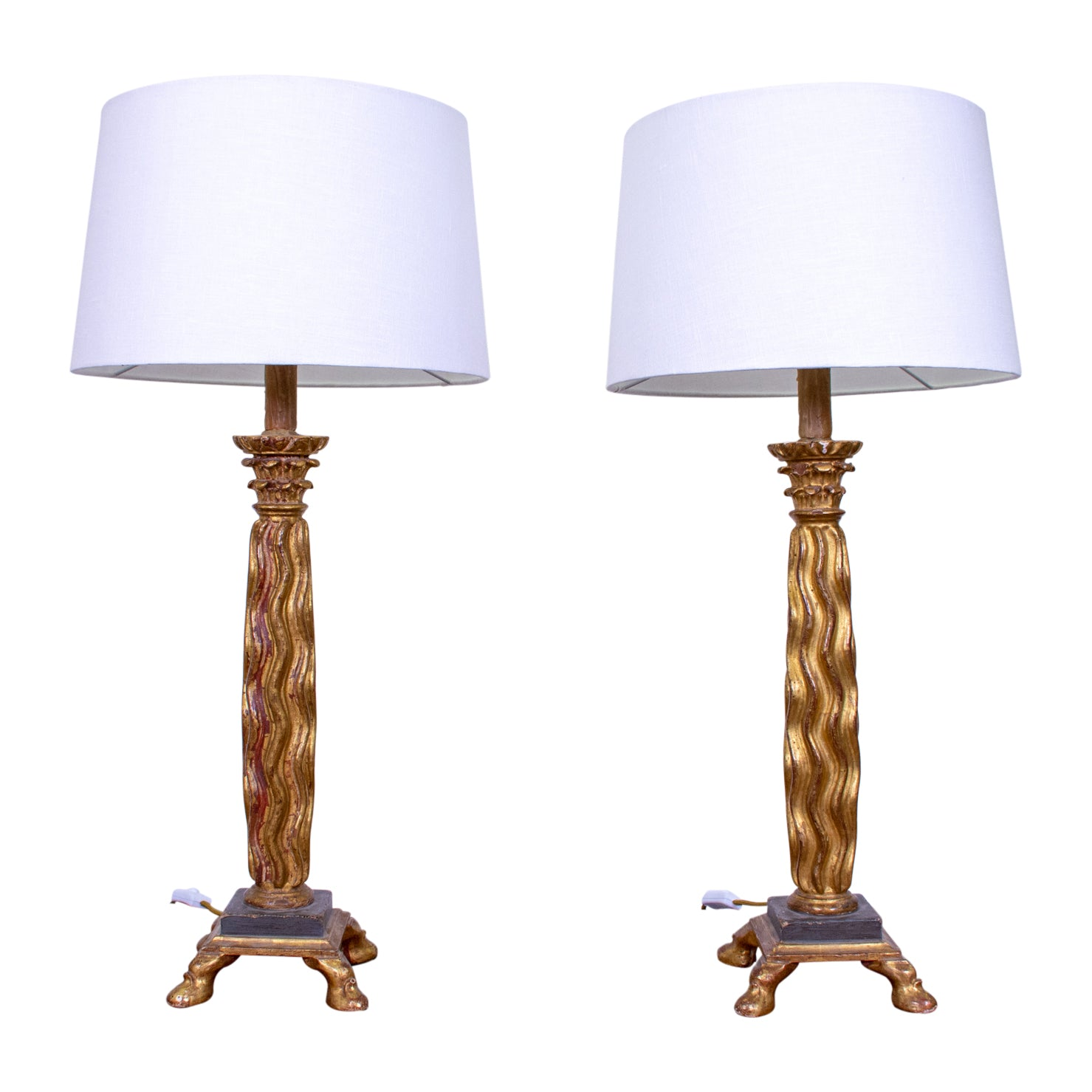 Pair of Green and Parcel Gilt Column Lamps
