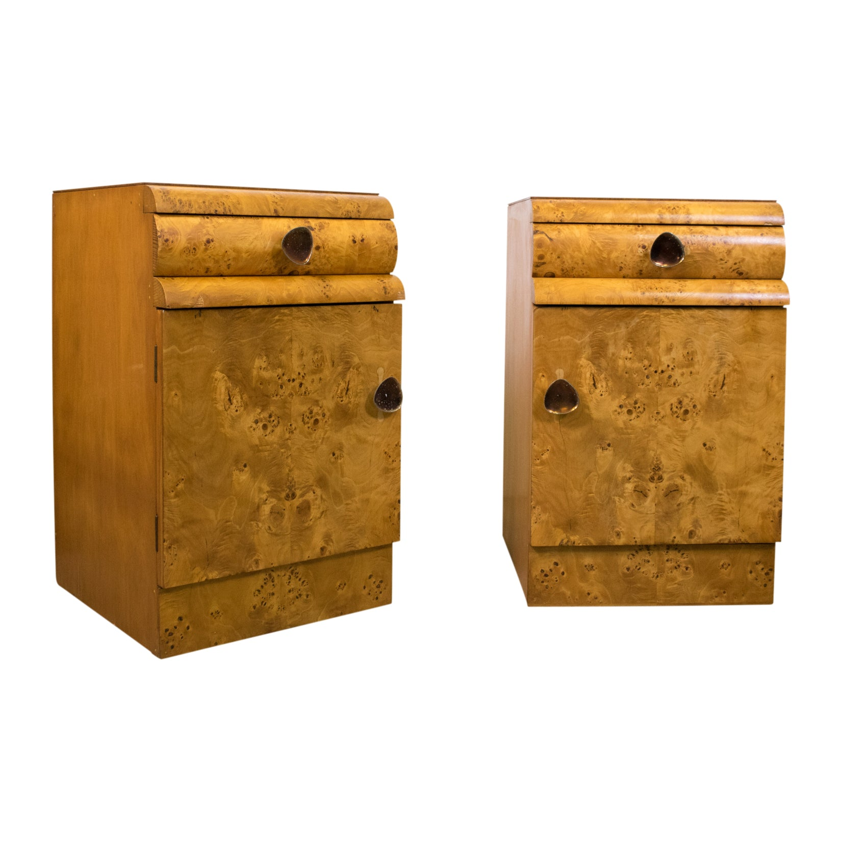 Pair of Art Deco Bedside Cabinets in Birdseye Maple