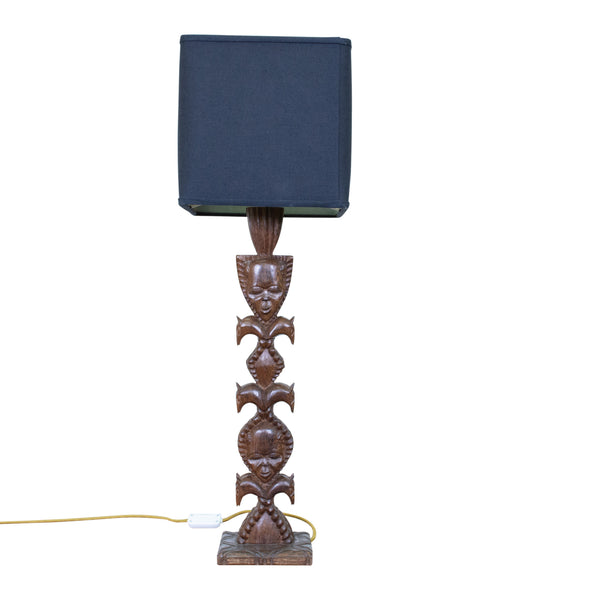 Mid-Century African Hand Carved Lamp