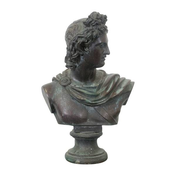 A cast Metal Bust of Apollo Belvedere