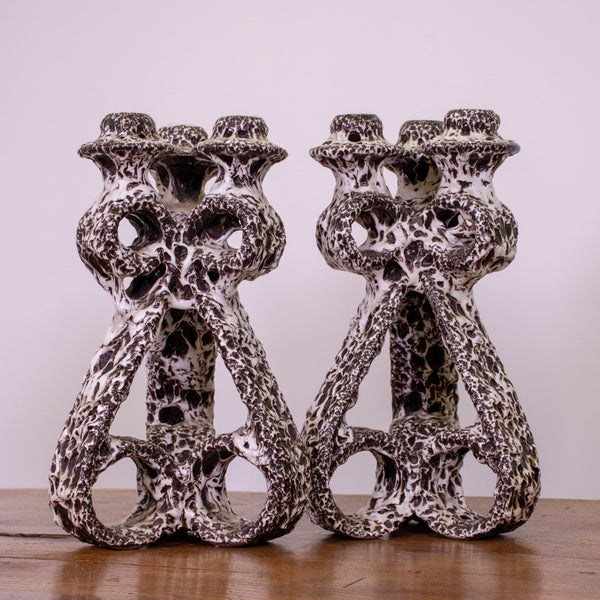 Pair of Pottery Candlesticks by Marius Giuge for Vallauris Ceramic.