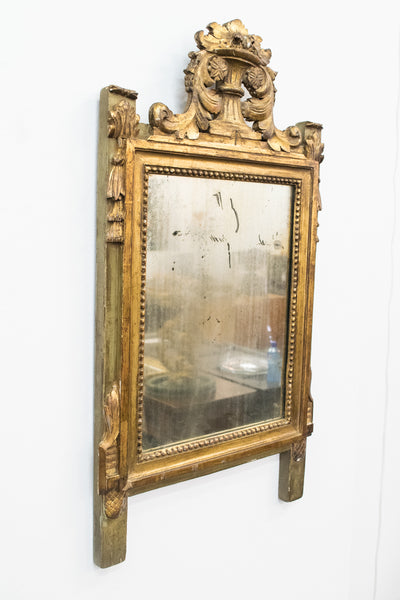 A small Louis XVI style carved and gilded wall Mirror