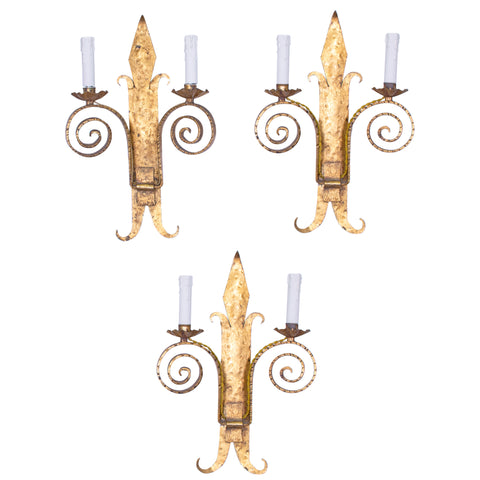 "Set of 3 1940s ""Fleur-De-Lys"" Gilt Wrought Iron Scroll Sconces"