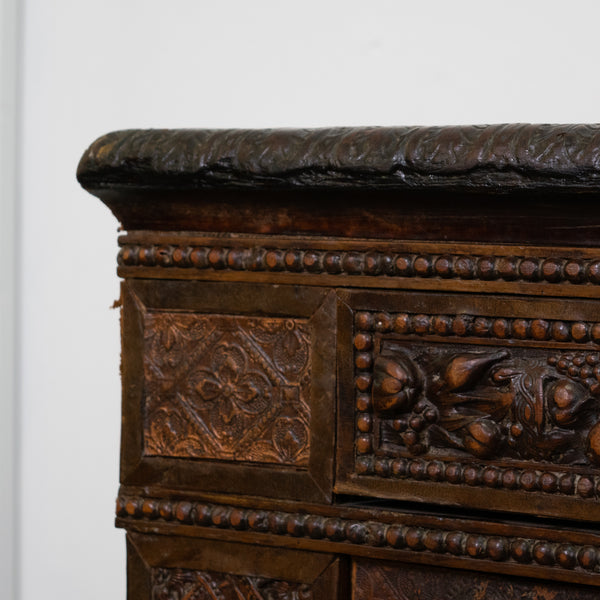 Rare Louis XIV Style Sideboard fully upholstered in embossed leather