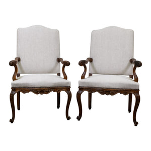 Pair 19th Century Regence Style Armchairs with Serpentine Arms