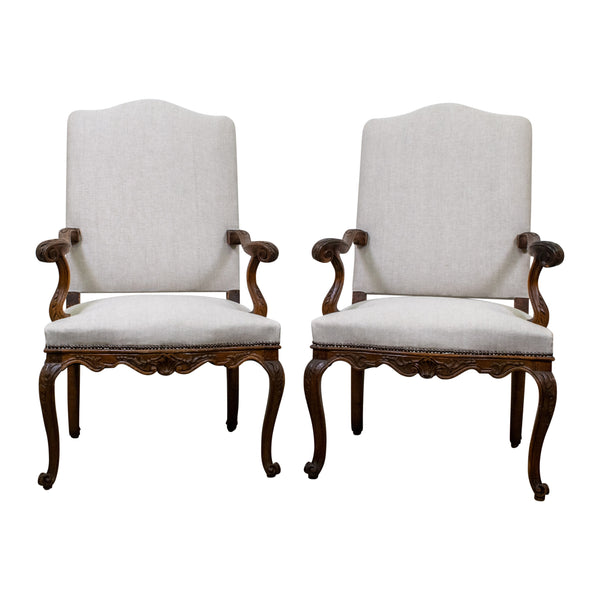 Antiques Pair Of Early 20th Century Carved Birch Chairs