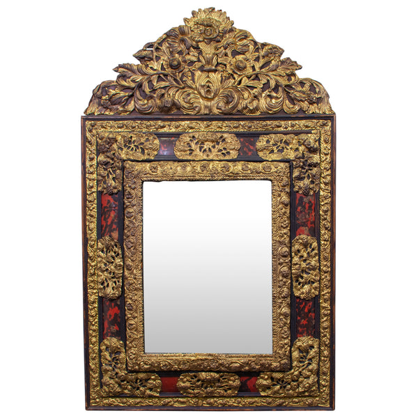 Louis XIII Style with Tortoiseshell and Brass Repousse Cushion Mirror