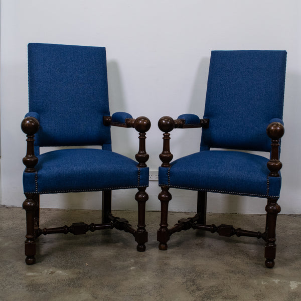 Pair of 19th Century Oak Armchairs with Ball Detail