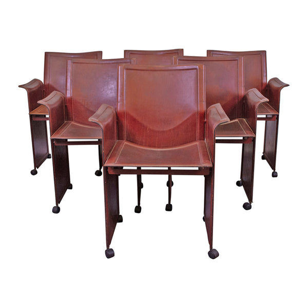A Set of Sid Red Leather Korium Chairs Design by Tito Agnoli