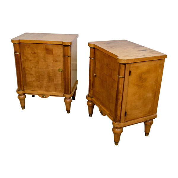 Pair of Art Deco Cherrywood Bedside Cabinets in the Manner of Jules Leleu