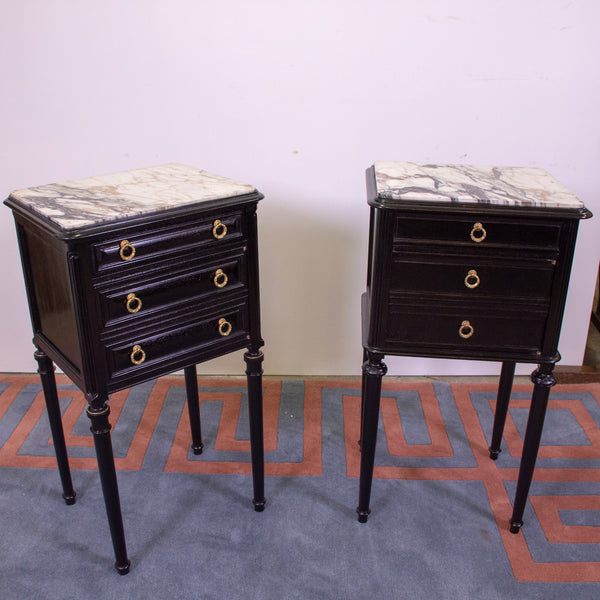 Pair of Directoire Style Ebonised Beside Commmodes