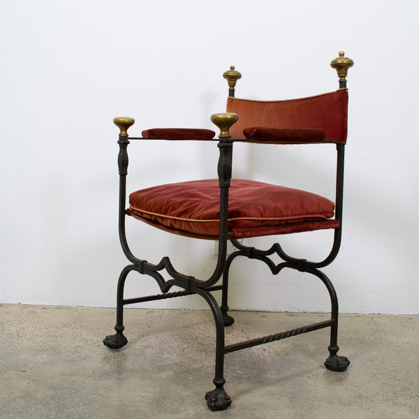 Early 20th Century Wrought Iron Throne Chair