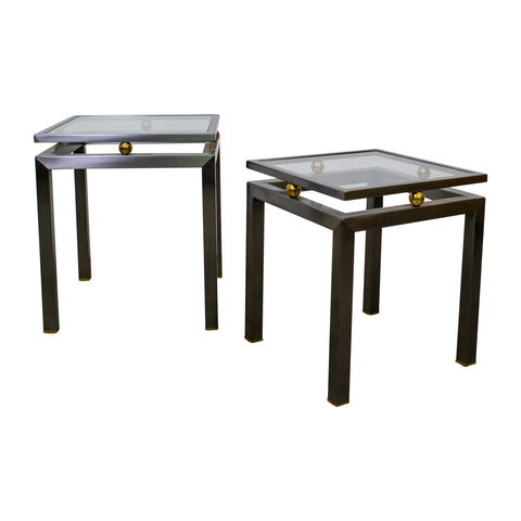 Pair of Mid-Century Modern Stainless Steel and Glass Side Tables