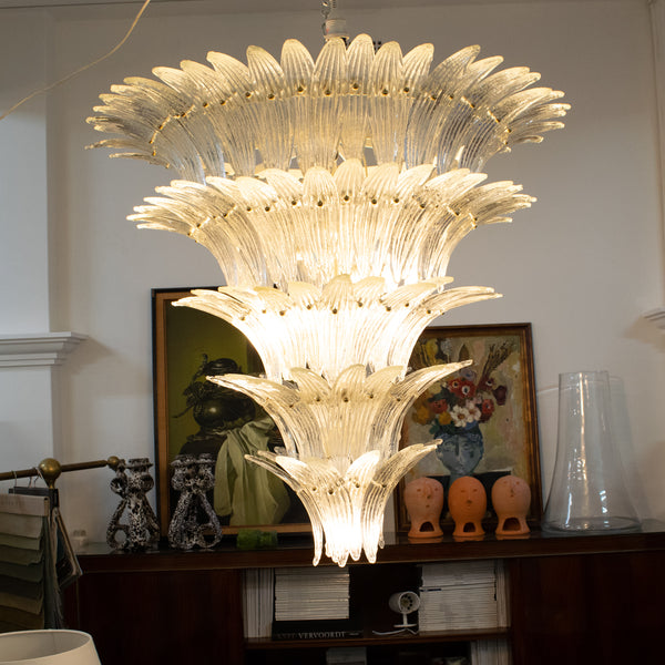 "Murano Four Tier ""Palmette"" Chandelier In the style of Barovier & Toso"