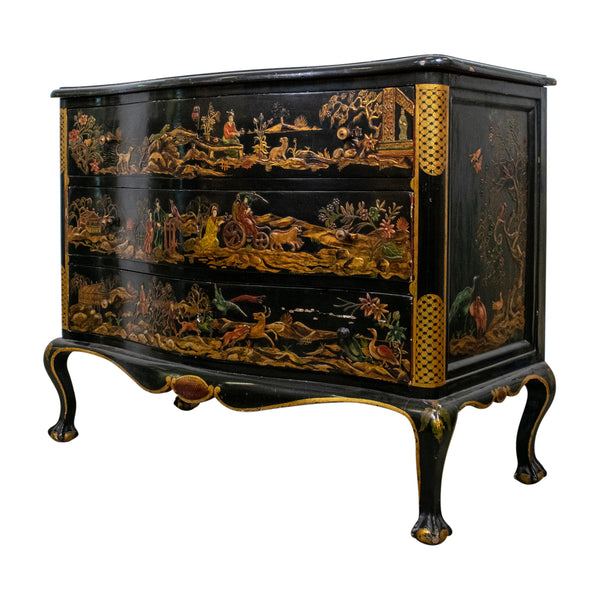 A late 19th Century Black/Green Chinoiserie Commode,