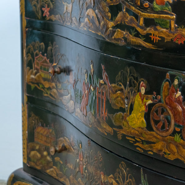 A late 19th Century Black/Green Chinoiserie Commode