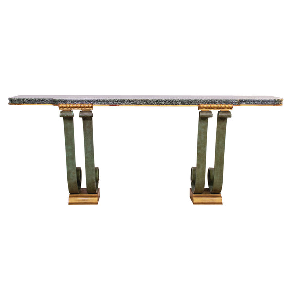 1940s Wrought Iron and Verde Marble Console