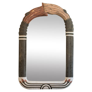 Tessalated Marble And Brass Art Deco Revival Mirror